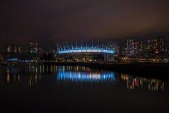 ДО РОЖДЕСТВА ХРИСТОВА установите стадион в Ванкувере, Канаде, на ноче Стоковое Фото