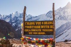 До свидания знак на базовом лагере Annapurna, Непал Стоковое Изображение