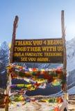 До свидания знак на базовом лагере Annapurna, Непал стоковые изображения rf
