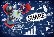 Доля деля концепцию сети связи соединения онлайн стоковые фотографии rf