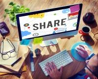 Доля деля концепцию сети соединения социальную стоковые фото