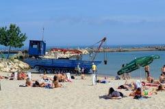 Драгируя машина на пляже Стоковое фото RF