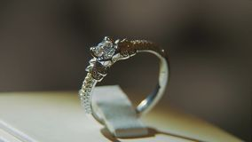 Драгоценные кольца с бриллиантом Точный роскошный дисплей окна украшений диаманта с педантом кольца Изолированное кольцо золота с Стоковое Изображение RF