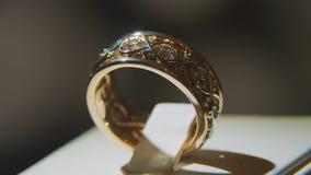 Драгоценные кольца с бриллиантом Точный роскошный дисплей окна украшений диаманта с педантом кольца Изолированное кольцо золота с Стоковая Фотография