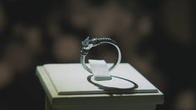 Драгоценные кольца с бриллиантом Точный роскошный дисплей окна украшений диаманта с педантом кольца Изолированное кольцо золота с Стоковое Изображение