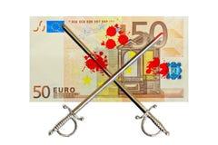 Драка евро кровопролитная иллюстрация штока