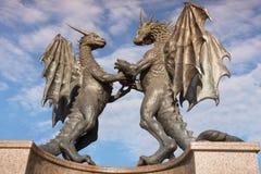 Драконы в статуе влюбленности в Варне, Болгарии Стоковая Фотография RF