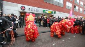Драконы на китайском фестивале Нового Года сток-видео