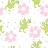 Драконы шаржа в цветках Ребяческий яркий цветочный узор в векторе Стоковое фото RF