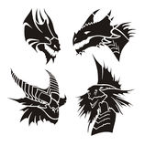 дракон возглавляет вектор иллюстрации Стоковые Изображения RF