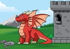 Дракон в замке со стилем мультфильма бесплатная иллюстрация