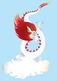 Дракон в небе с вектором облака Стоковая Фотография