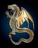 дракон золотистый иллюстрация вектора