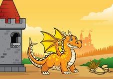 Дракон и замок со стилем мультфильма иллюстрация штока