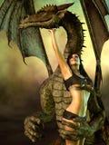 Дракон и оскудело одетая женщина иллюстрация вектора