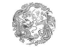 Дракон и phoenix Стоковое фото RF