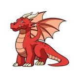Дракон мультфильма красный в усмехаясь стороне иллюстрация вектора