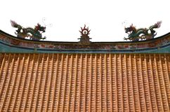 Дракон на верхней части китайского виска Стоковая Фотография RF