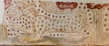 Дракон при слепые пятна, покрашенные на стене в датской церков Стоковые Фото