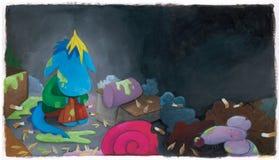 Дракон сини младенца в отбросе Стоковое Фото