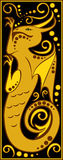 Дракон стилизованного китайского гороскопа черный и золото- Стоковое Изображение
