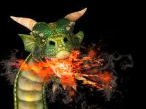 Дракон с огнем Стоковые Фотографии RF