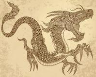 Дракон татуировки хны соплеменный иллюстрация вектора