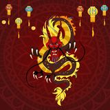 Дракон традиционного китайския, старый символ азиата или культура фарфора, украшение для торжества Нового Года, мифологии бесплатная иллюстрация