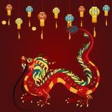Дракон традиционного китайския, старый символ азиата или культура фарфора, украшение для торжества Нового Года, мифологии иллюстрация вектора