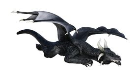 дракон черноты фантазии перевода 3D на белизне Стоковое фото RF