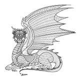 Дракон чертежа для книжка-раскраски Стоковые Изображения
