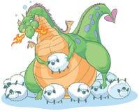 Дракон шаржа переедать тучный с невежественными овцами Стоковое Изображение