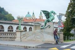 дракон ljubljana моста стоковая фотография rf