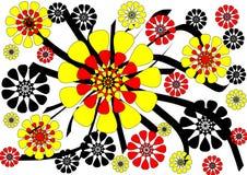 Драматическая самомоднейшая абстрактная флористическая конструкция на белой предпосылке Стоковое Фото
