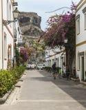 Драматическая скала в предпосылке от флористического бульвара в Puerto de Mogan на Gran Canaria Стоковое Изображение