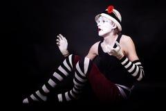 драматическая смешная белизна mime шлема Стоковые Фотографии RF