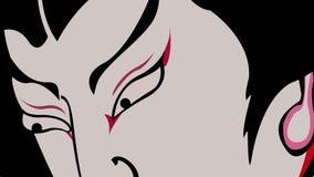 Драматические выражения лица характера Kabuki японца акции видеоматериалы