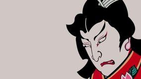 Драматические трагичные традиционные выражения лица самураев сток-видео