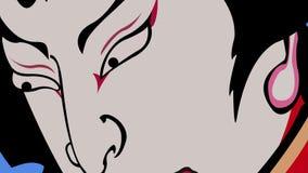 Драматические японские выражения лица ратника сток-видео