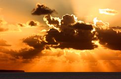 драматический заход солнца Стоковые Изображения RF