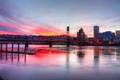 драматический заход солнца portland hdr Стоковое Фото