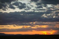 Драматический заход солнца в Неш-Мексико Стоковые Фотографии RF