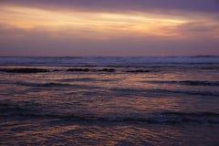 Драматический заход солнца океана Стоковые Фото