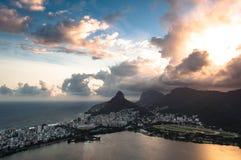 Драматический заход солнца Рио-де-Жанейро Стоковые Фото