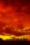 драматический остров пасхи Стоковые Изображения RF