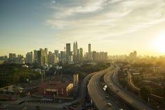 Драматический пейзаж города Куалаа-Лумпур Стоковая Фотография RF