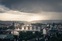 Драматический шторм над Прагой Стоковая Фотография