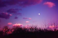 Драматическое небо вечера с полнолунием Стоковое Изображение RF