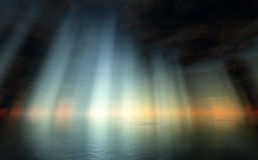 драматическо над небом моря иллюстрация штока