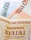 Драхмы и евро Стоковое Фото